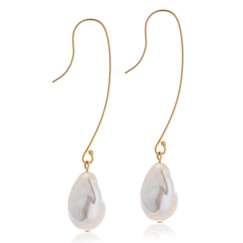 Baroque Pearl, French Hook, Gold
