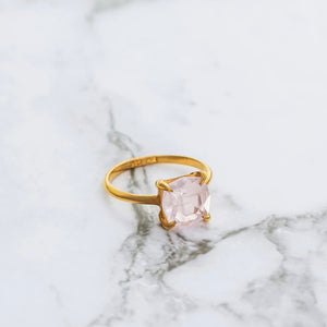 Mini Kara Ring, Rose Quartz, 9kt Rose Gold