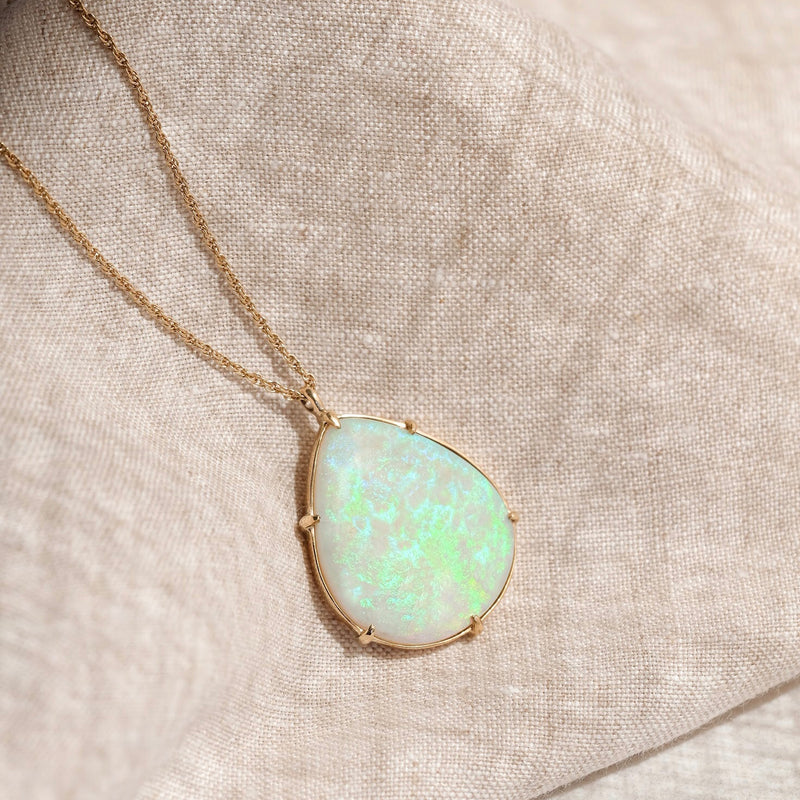 Opal Pear Necklace, 9kt Yellow Gold