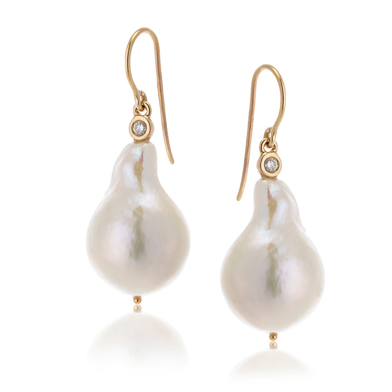 Baroque Pearl, Diamond Earring, 9kt Yellow Gold