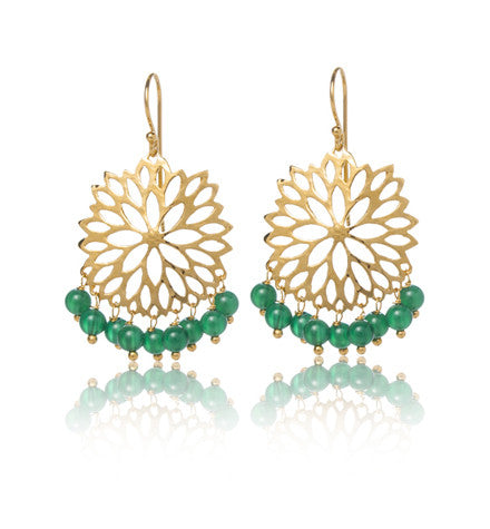 Anthia Earring, Green Onyx, Gold