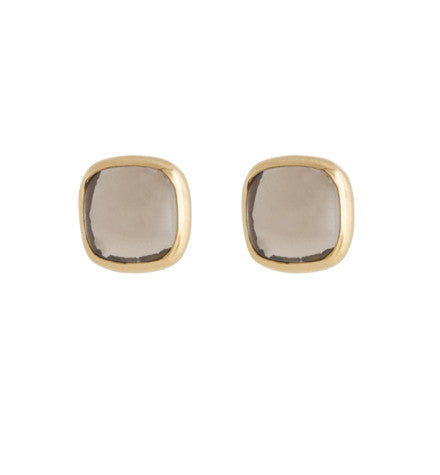 Ariel Stud, Smokey Quartz, Gold