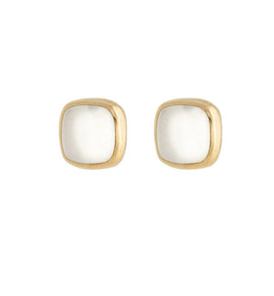 Ariel Stud, White Moonstone, Gold