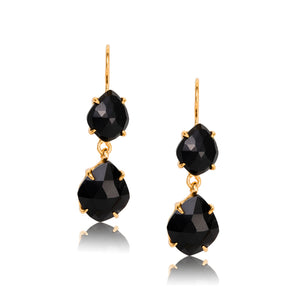 Rose Cut Duo Earring, Black Onyx, Gold