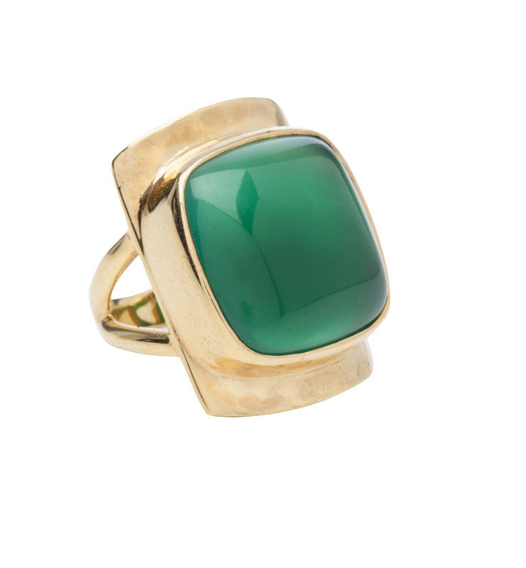 Bianca Ring, Green Onyx, Gold