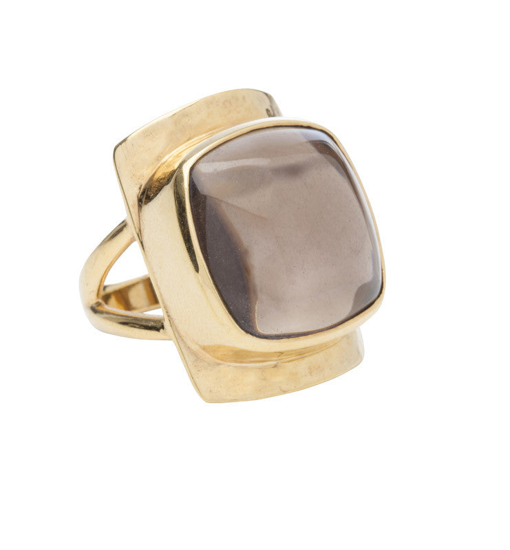 Smokey, Quartz, Bianca, Ring, Gold
