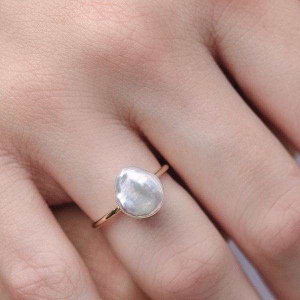 Biwa Pearl Ring, 9kt Yellow Gold
