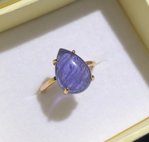 Tanzanite Pear Ring, 9kt Yellow Gold