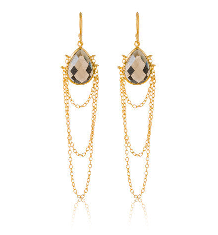 Celine Earring, Smokey Quartz, Gold