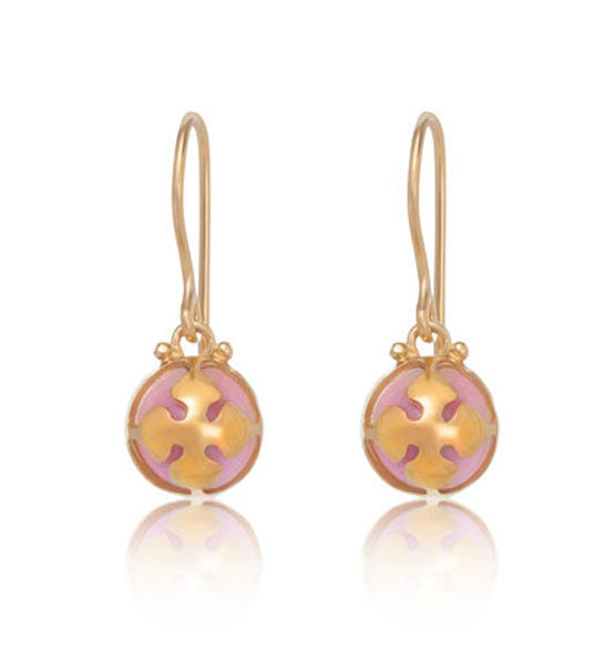 Chantal Earring, Pink Opal, Gold