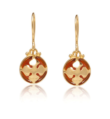 Chantal Earring, Red Onyx, Gold