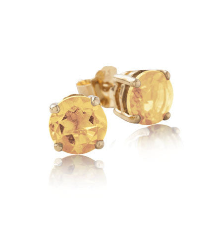 Solitaire Stud, Citrine, Gold