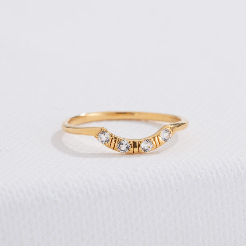 Crescent Band, White Topaz, 9kt Yellow Gold