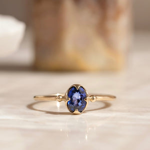 Abbey Ring, Blue Sapphire, 9kt Yellow Gold