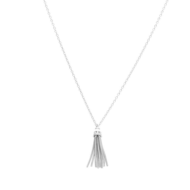 Fine Tassel Necklace, Silver