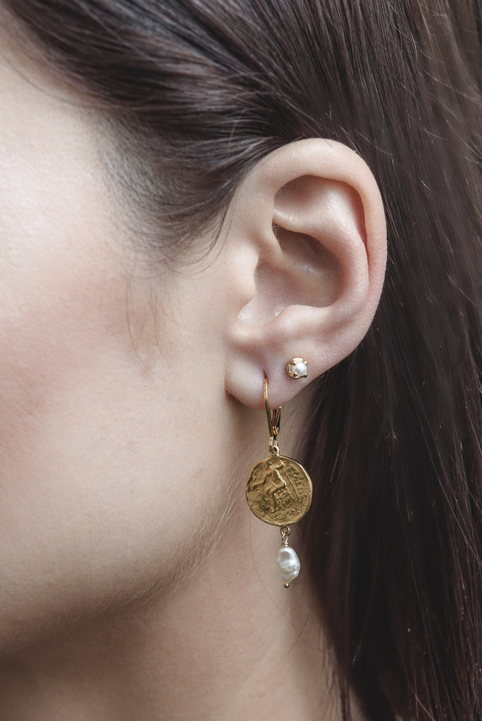 Grecian Coin Earring, Gold