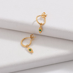 Evil Eye Hoop, Green Onyx, Gold