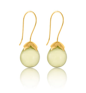 Bulb Earring, Lemon Quartz, Gold