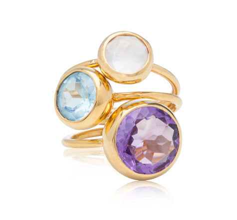 Gem Stack Rings, Amethyst, Blue Topaz, White Moonstone, Gold