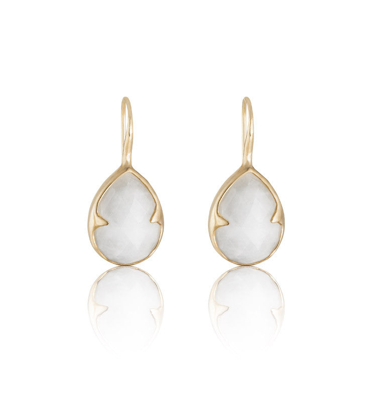 Gemma Earring, White Quartzite, Gold