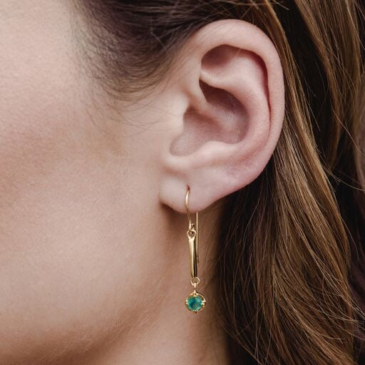 Hera Earring, Green Onyx, Gold