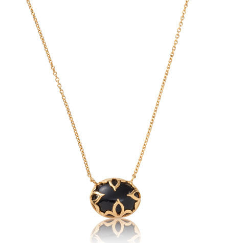 Jali Necklace, Black Onyx, Gold