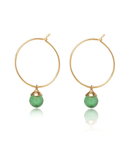 Lola Hoops, Green Onyx, Gold