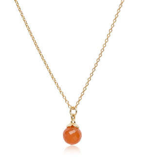 Lola Pendant, Red Onyx, Gold