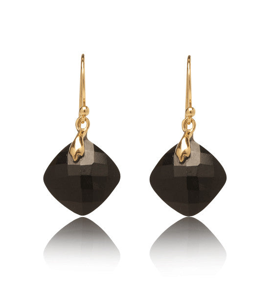 Lydia Earring, Black Onyx, Gold