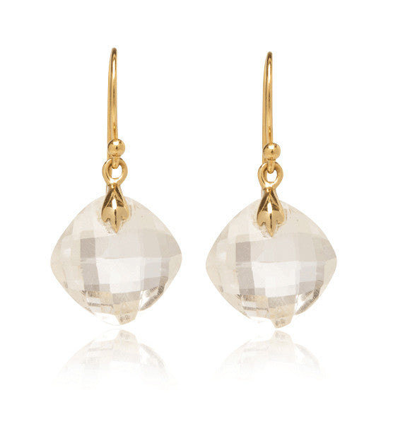 Lydia Earring, Crystal Quartz, Gold