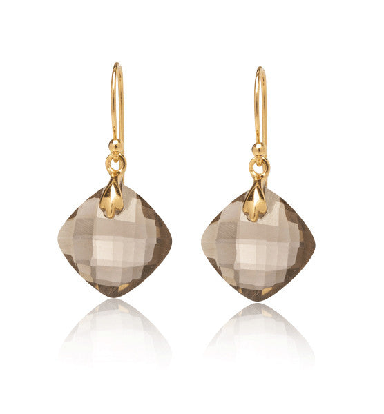 Lydia Earring, Smokey Quartz, Gold