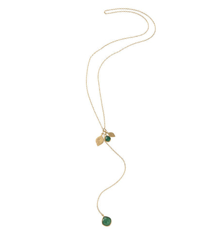 Pod Charm Necklace, Green Onyx, Gold
