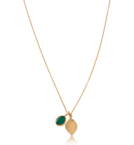Pod Charm Necklace, Short, Green Onyx, Gold