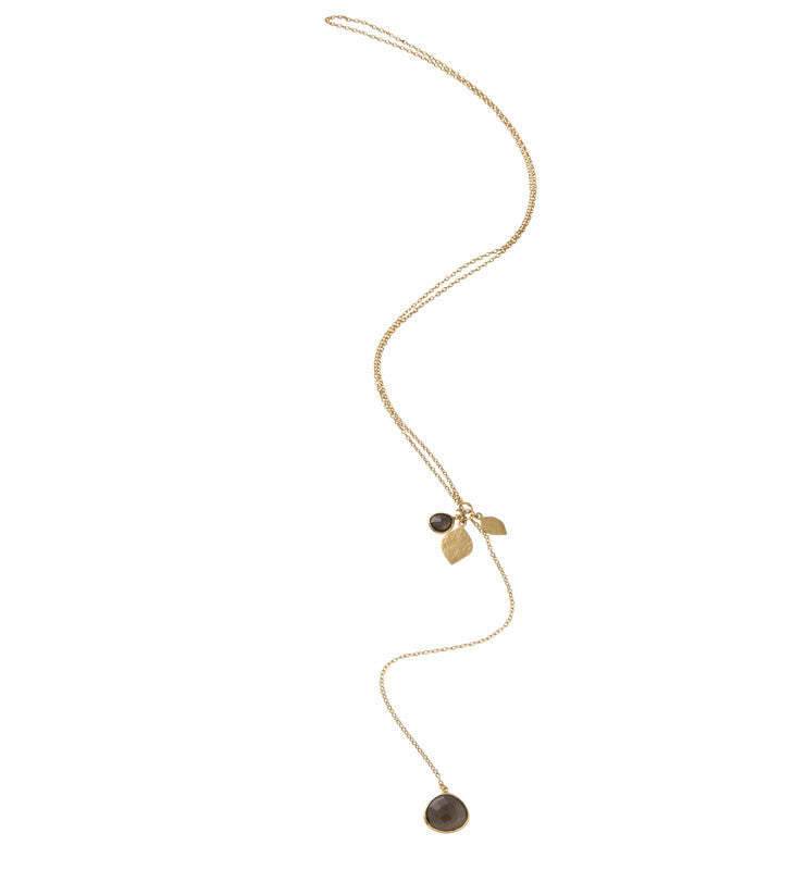 Pod Charm Necklace, Smokey Quartz, Gold