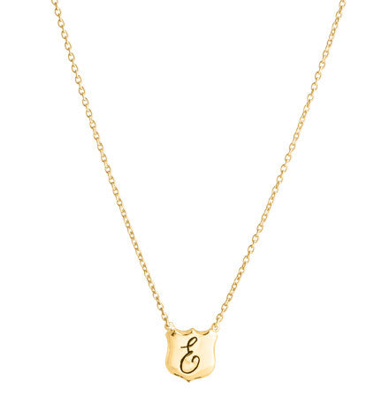 Signet Necklace, E , Gold