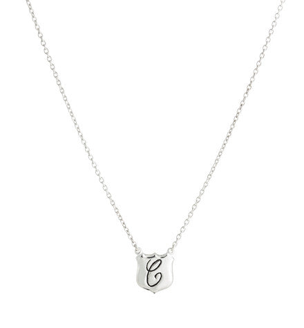 Signet Necklace, C , Silver