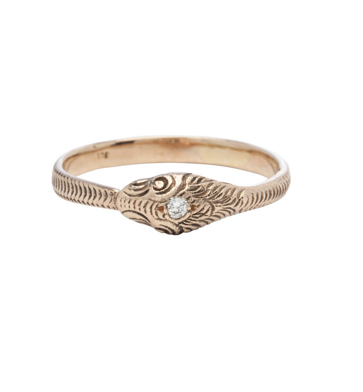 Snake Ring, Diamond, 9kt Rose Gold, Kerry Rocks, Jewellery