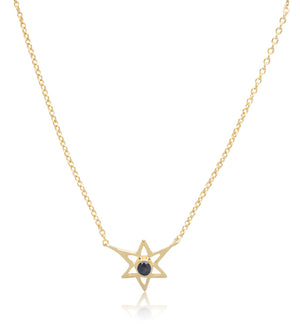 Star Gem Necklace, Black Zircon, Gold