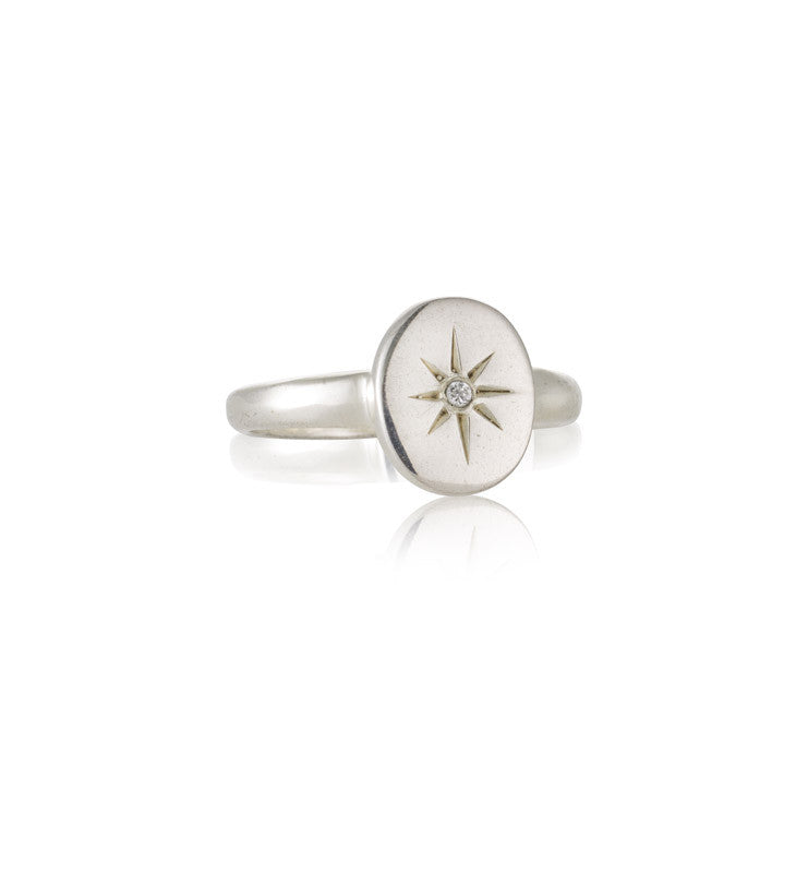 Starburst Ring, White Topaz, Silver