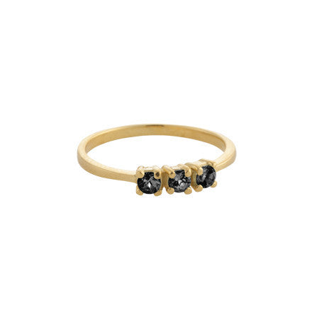 Trinity Ring, Black Zircon, Gold