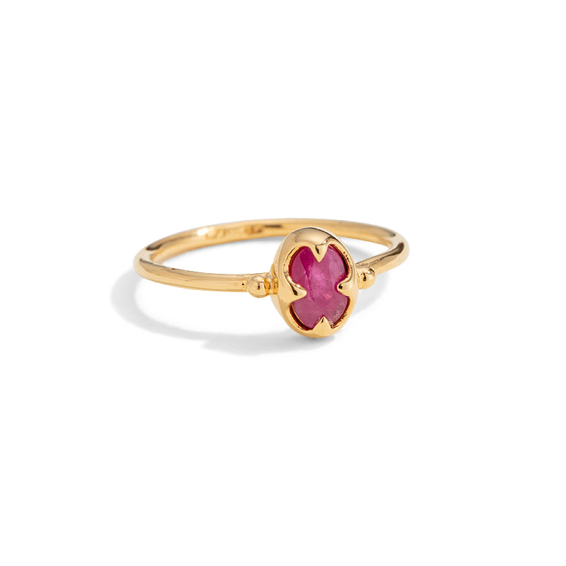 Abbey Ring, Ruby, Gold