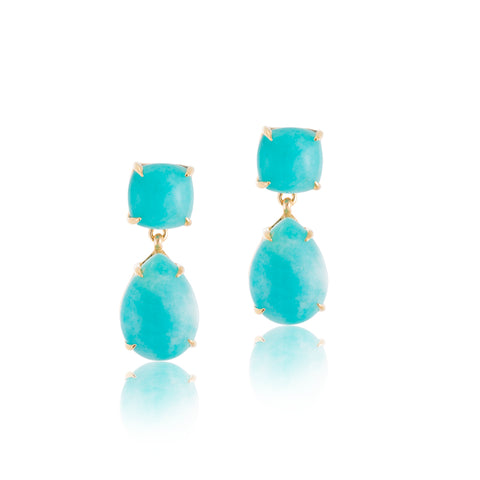 Amazonite Duo, Stud, Gold