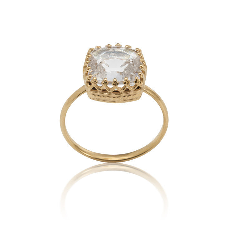 Amelia Ring, Crystal, Gold