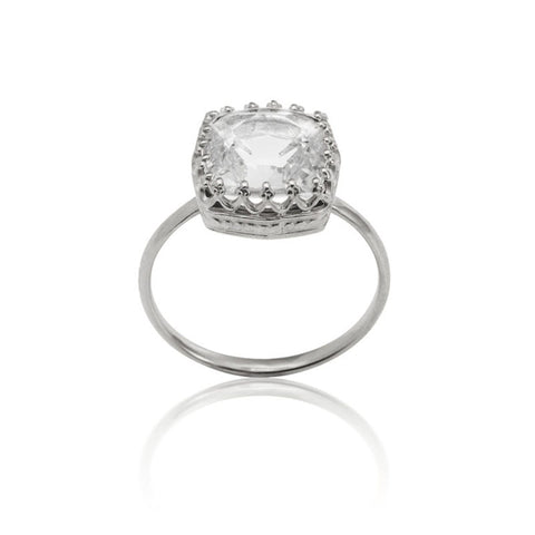 Amelia Ring, Crystal, Silver