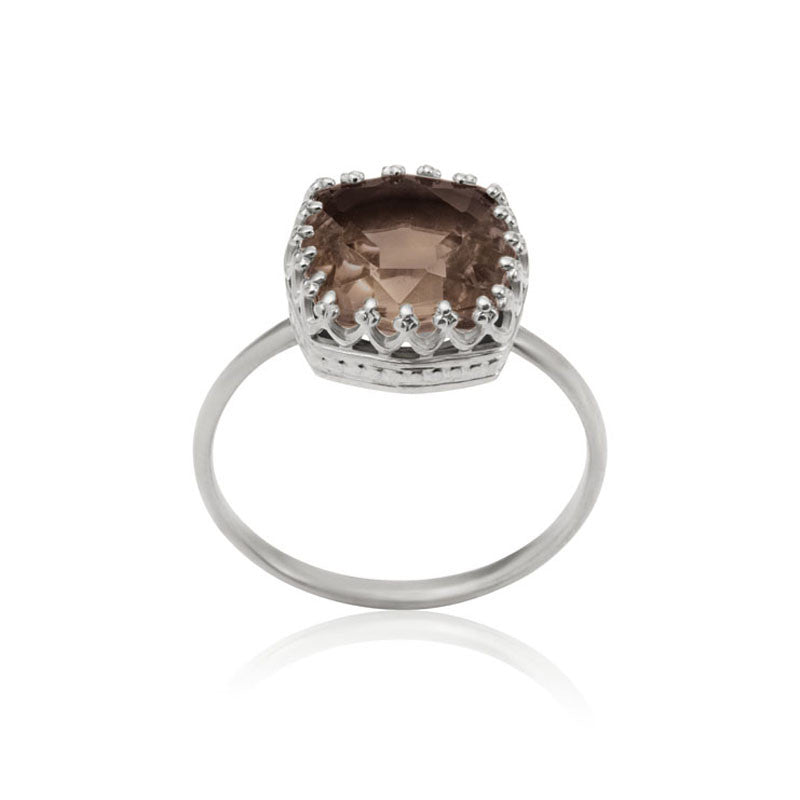 Amelia Ring, Smokey Quartz, Silver