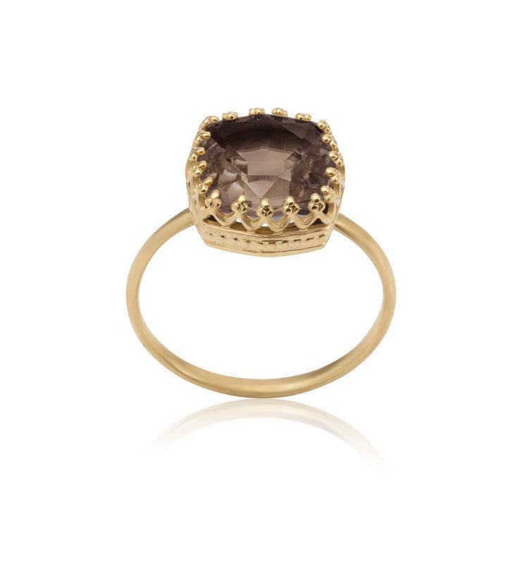 Amelia Ring, Smokey Quartz, Gold