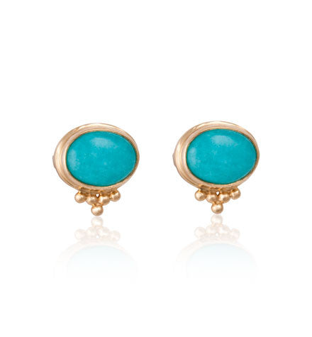 Anara Studs, Amazonite, Gold