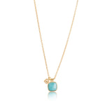 Ariel Charm Necklace, Amazonite, Gold