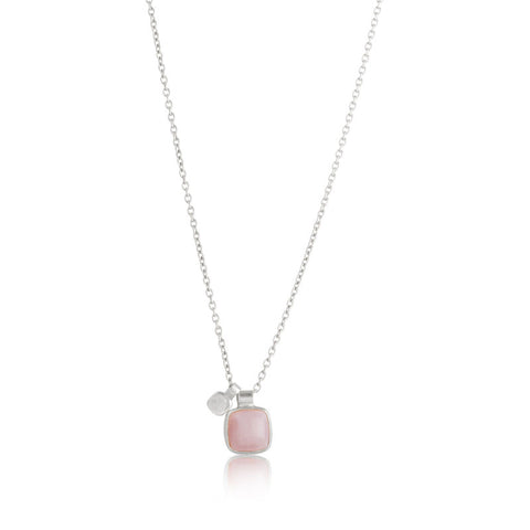 Ariel Charm Necklace, Pink Opal, Silver