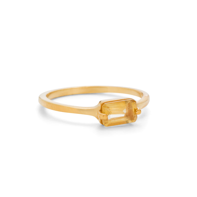Baguette Ring, Citrine, 9kt Yellow Gold